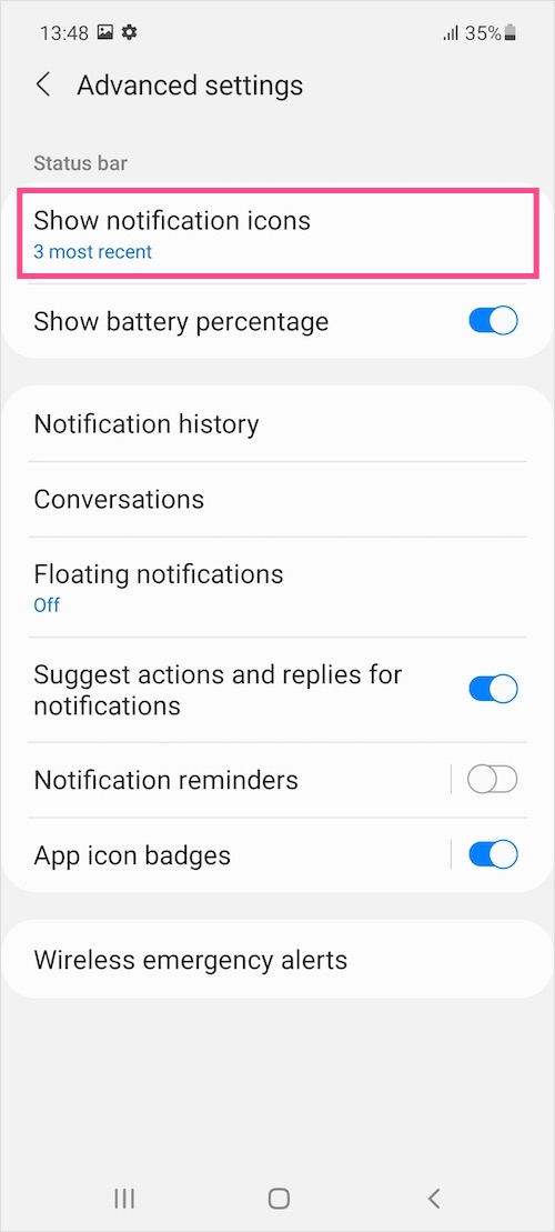 hide notification icons in Samsung One UI