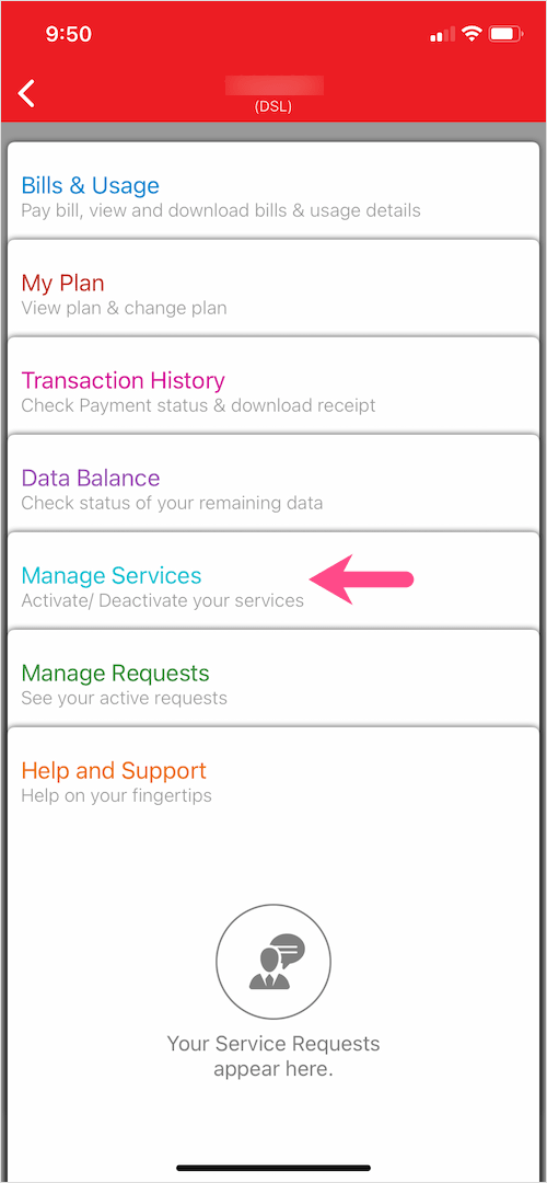 manage services in airtel thanks app