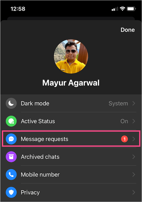message requests in messenger app on iPhone