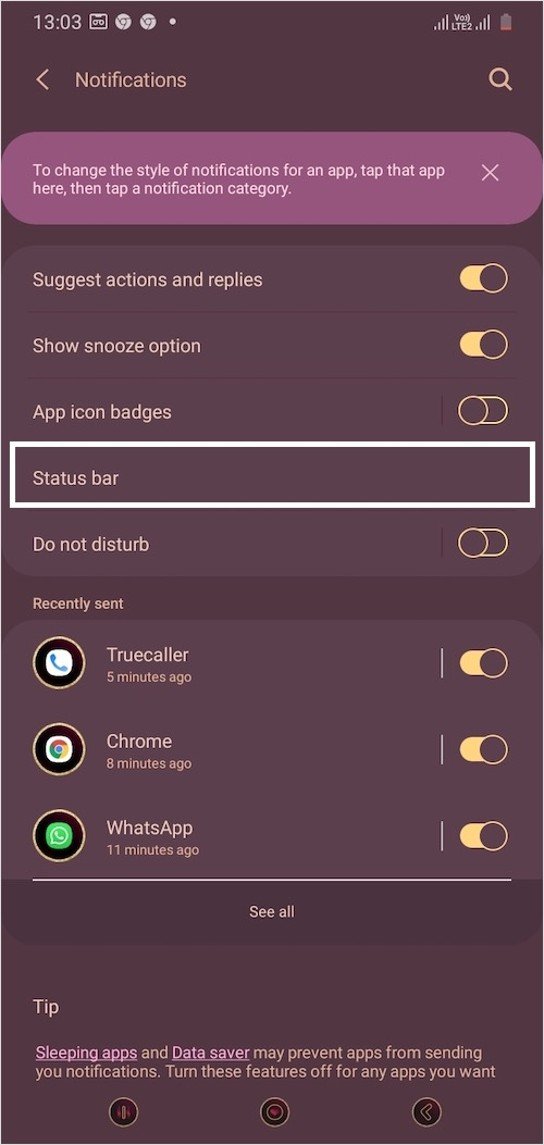 notification settings in one ui 2.0 and 2.1