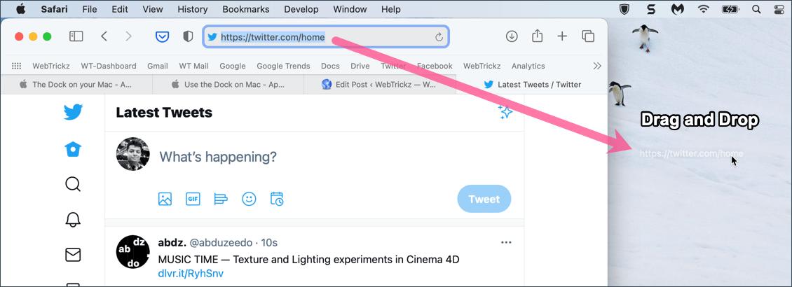pin a website to taskbar in safari on Mac