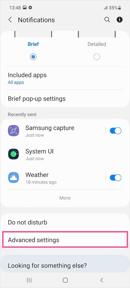 Samsung One UI notification settings