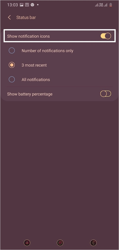 turn off notification icons in status bar on Samsung One UI 2