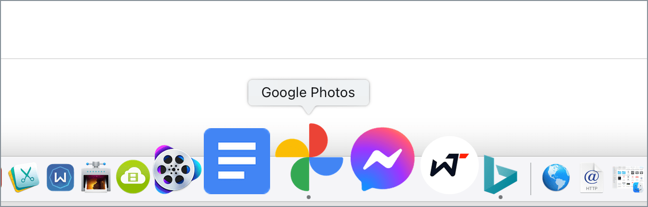 website shortcuts added to dock on Mac