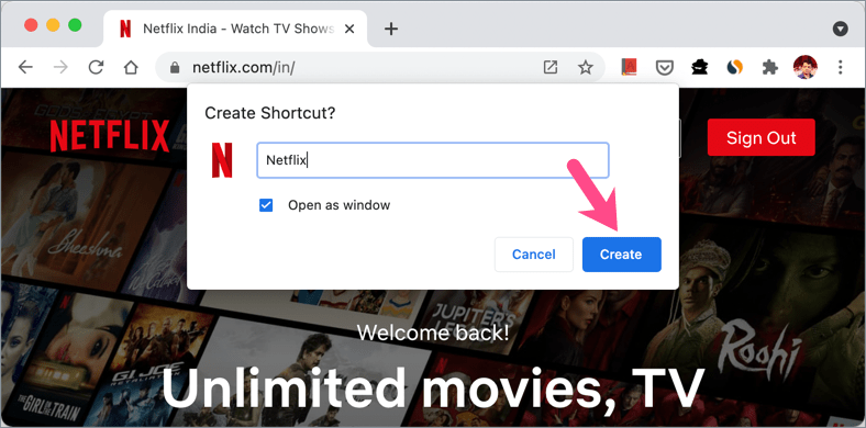 how to create Netflix shortcut in chrome