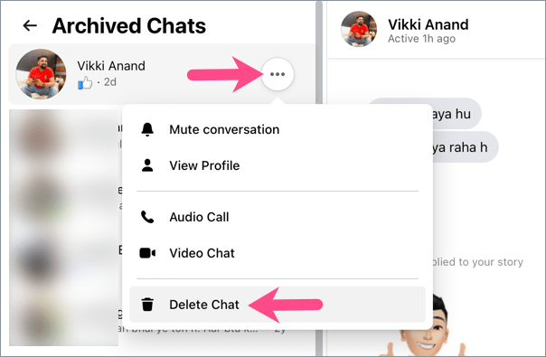 delete archived chat in messenger on computer