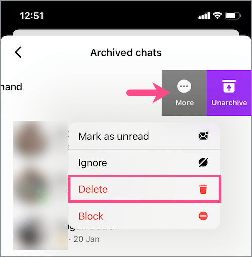 how to delete archived chats in messenger on iPhone
