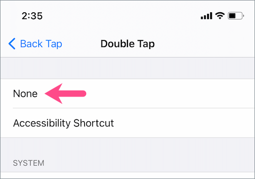double tap shortcut in iOS 14