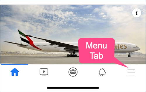 menu tab on Facebook app for iPhone