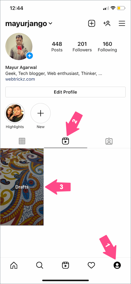 how to find your draft reels on Instagram