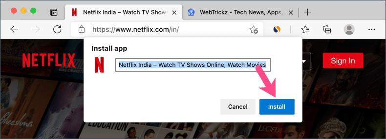 install Netflix progressive web app on macOS