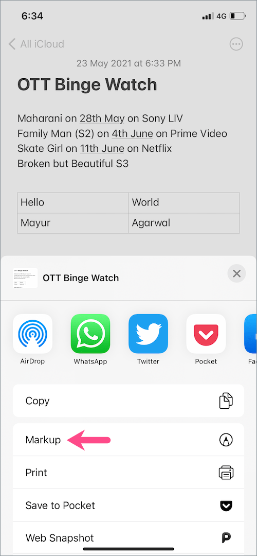 markup tool in notes on iPhone