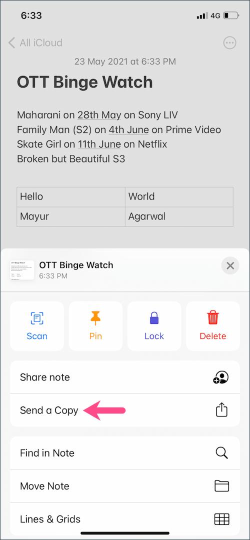 sent a copy notes app