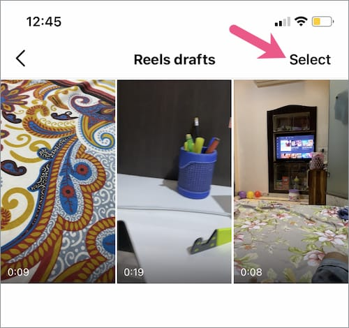 reels drafts on Instagram for iPhone