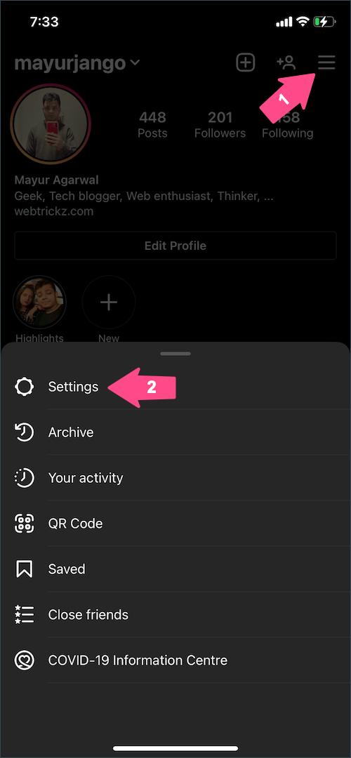 instagram app settings on iPhone