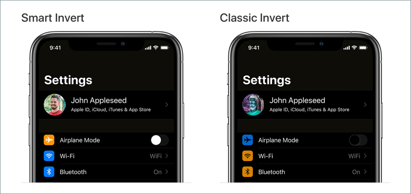 Smart invert and Classic invert screen on iPhone