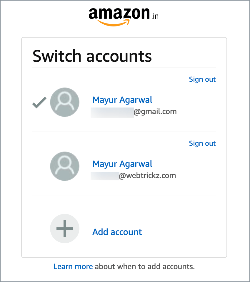 change amazon account in browser