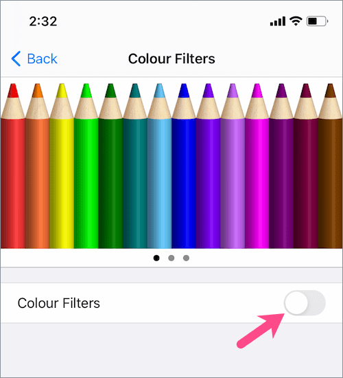 turn off Color Filters on iPhone