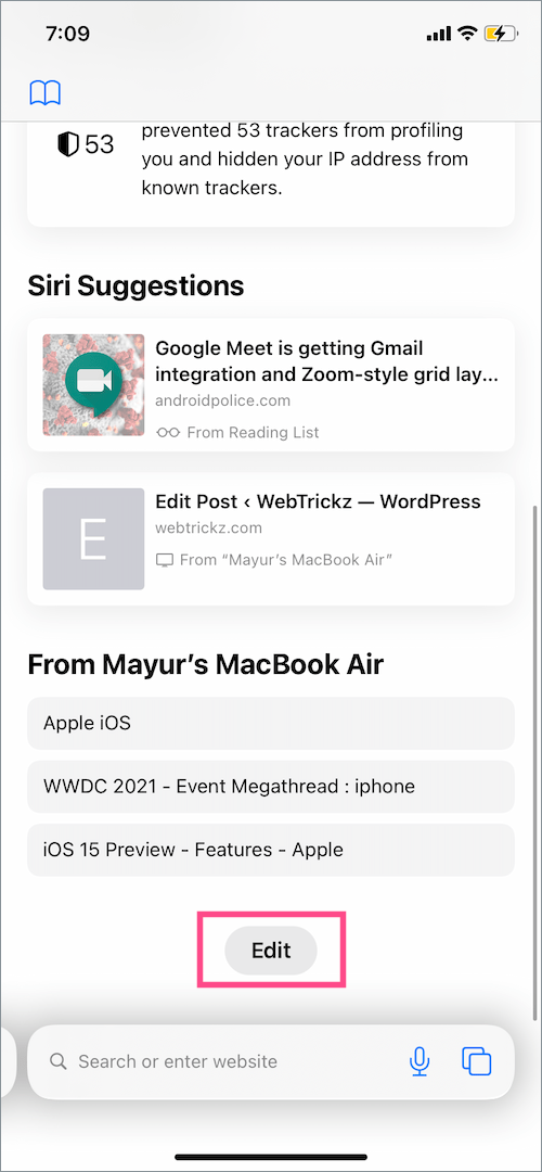 customize safari start page in iOS 15