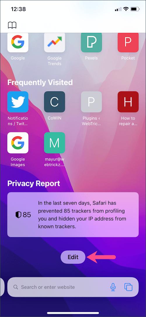 customise safari start page in iOS 15 on iPhone