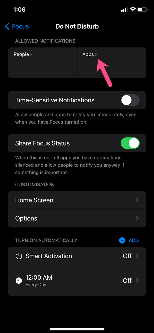 how to exclude apps from do not disturb in iOS 15 on iPhone