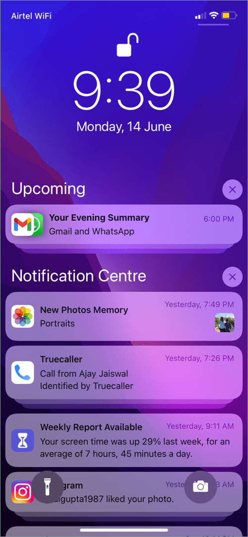demo of Notification Summary in iOS 15 on iPhone