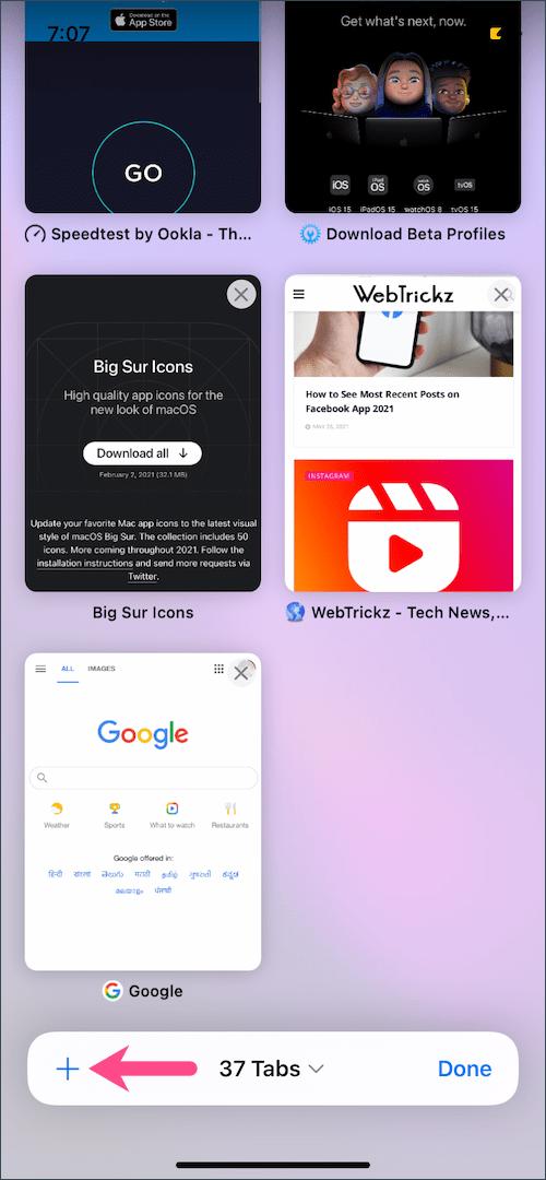 open new tab button in safari on iOS 15