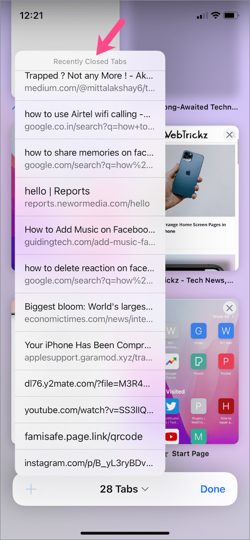 how to see recently closed tabs in safari on iOS 15
