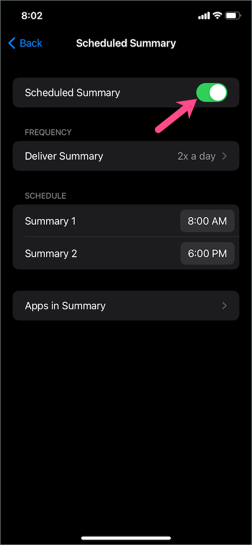 how to turn off notification summary on iPhone