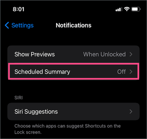 how to turn on scheduled summary in iOS 15