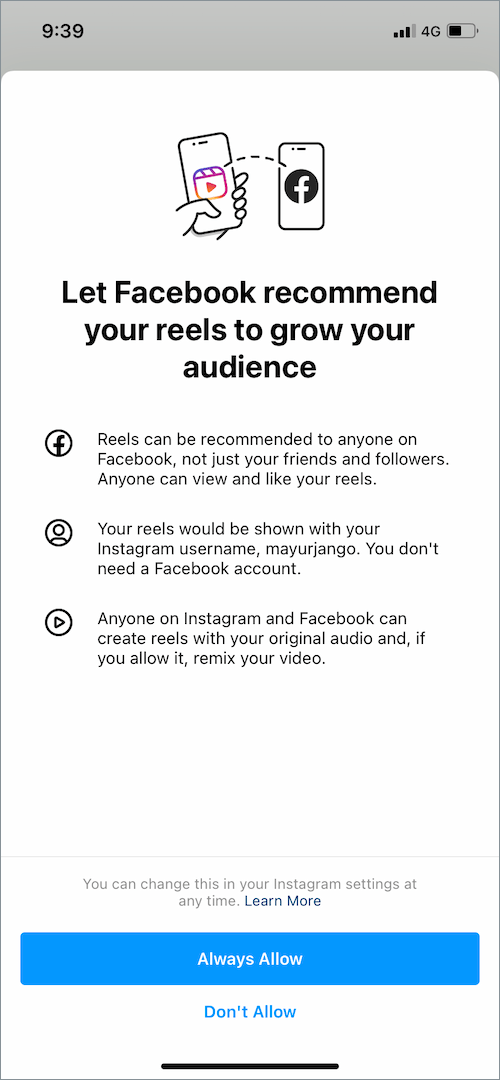 how to connect instagram reels with facebook