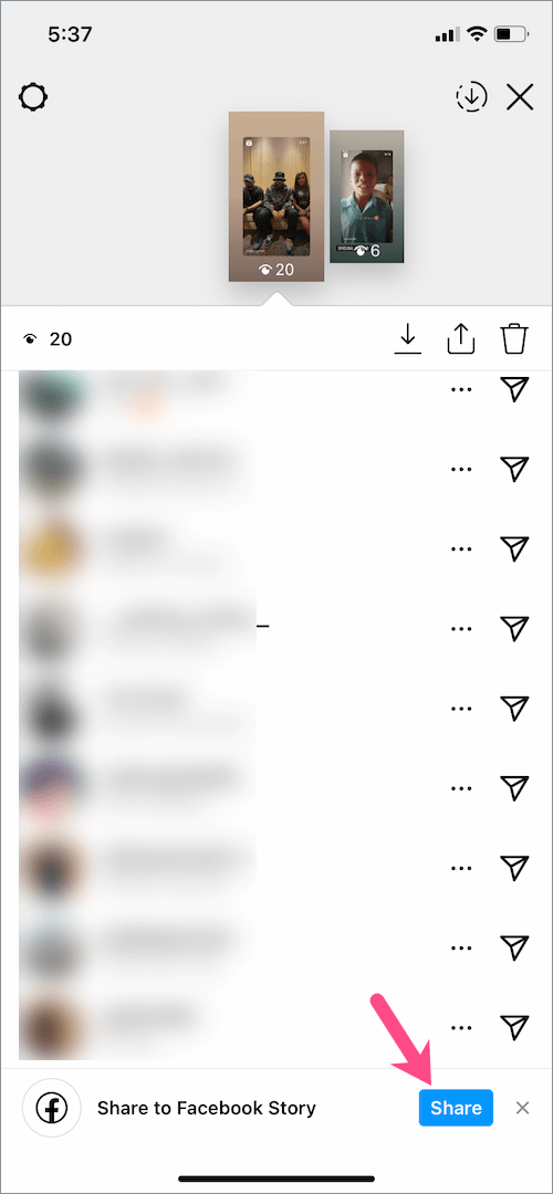 share to Facebook story option on instagram story
