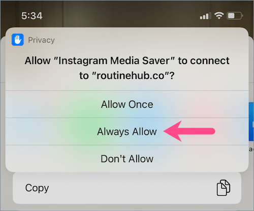 shortcut permission on iOS