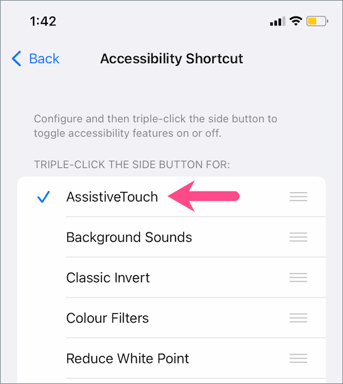 shortcut to quickly enable or disable the floating home button on iPhone