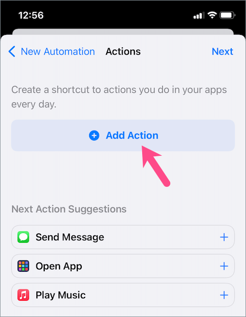 add action in iOS shortcut