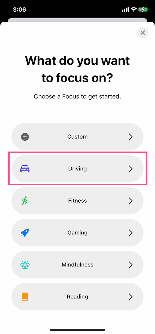 how to add driving focus in iOS 15 on iPhone