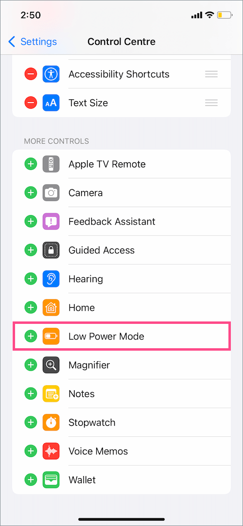 How to put Low Power Mode on iPhone shortcut
