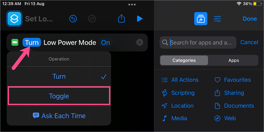 how to add low power mode to shortcuts on iPad