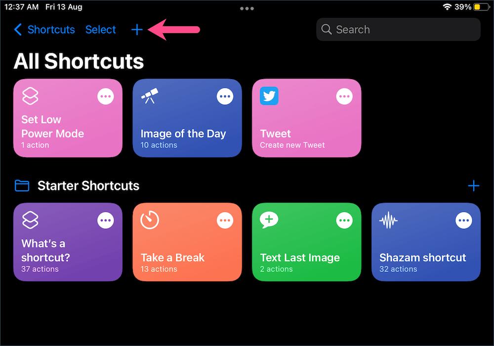 add a new shortcut on iPadOS