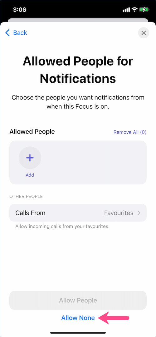 allowed people for notifications in driving focus on iOS 15