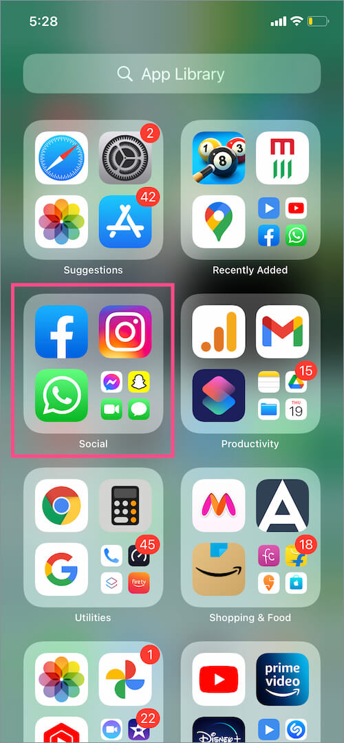 App Library in iOS 14 on iPhone