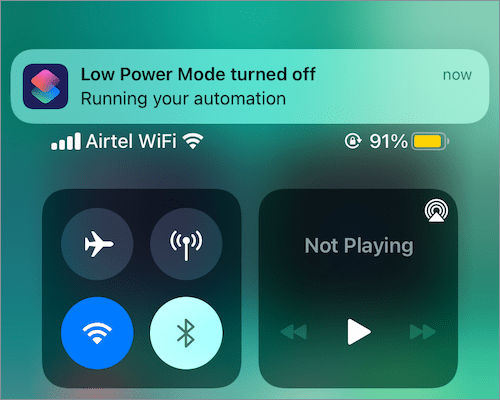 automatically turn on low power mode on iPhone