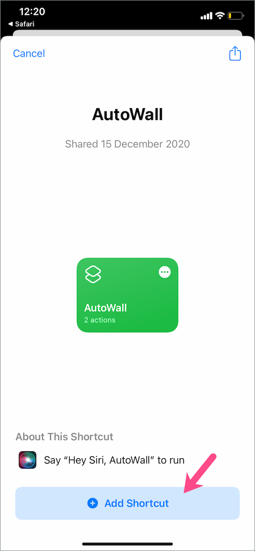 autowall shortcut for iphone
