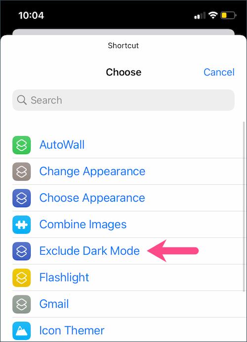 select shortcut to run