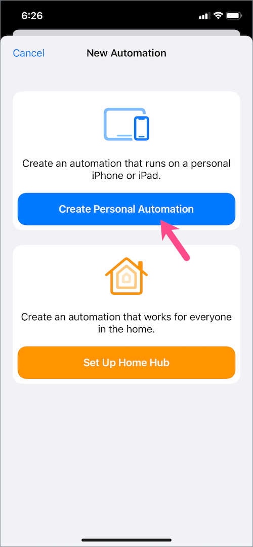create new automation in shortcuts