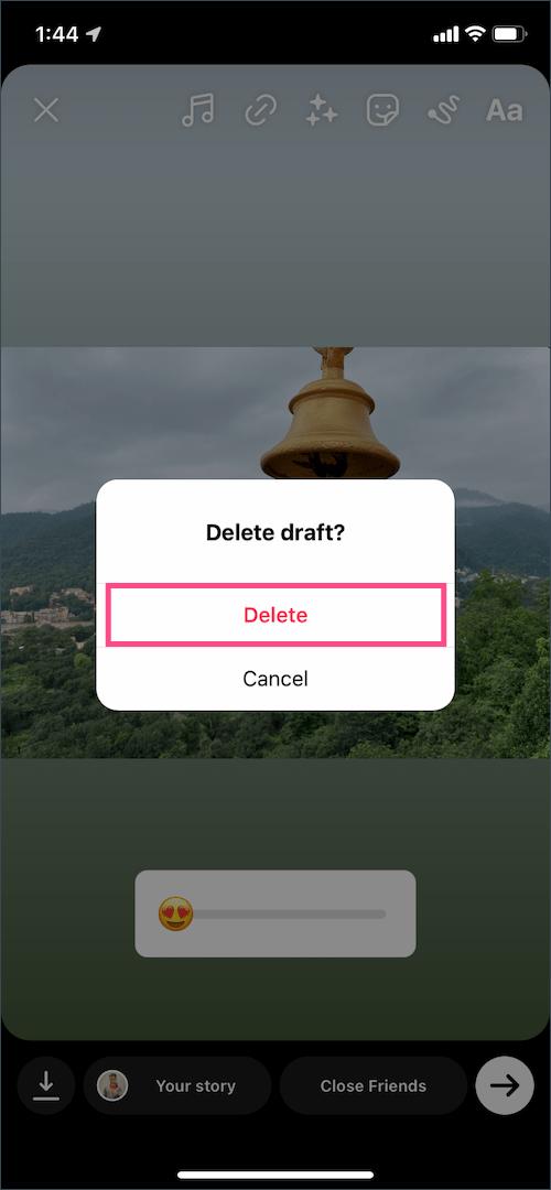delete saved draft story on instagram