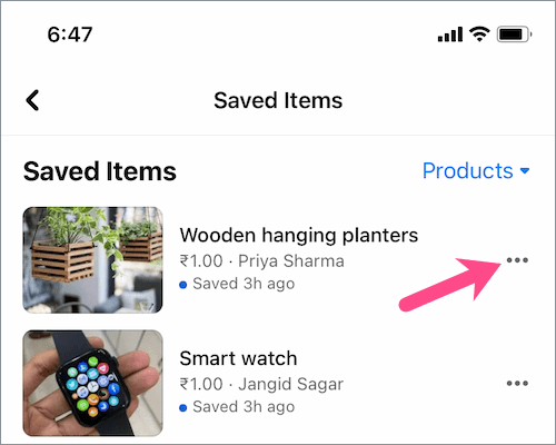 how to delete saved items on Facebook Marketplace