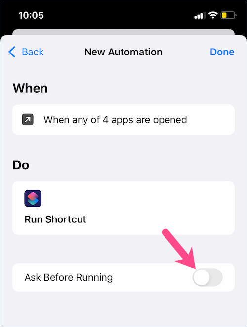 turn off ask before running in shortcuts app