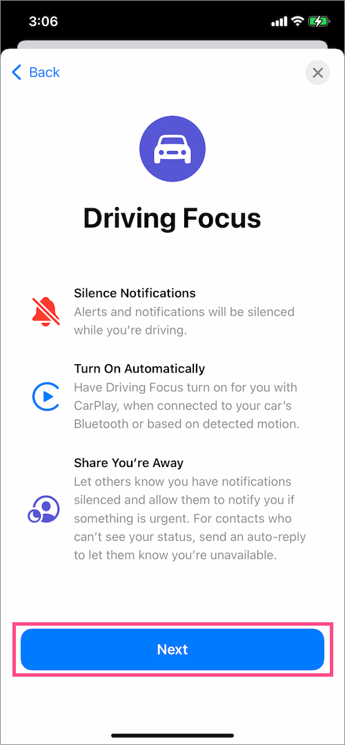 driving focus mode on iOS 15