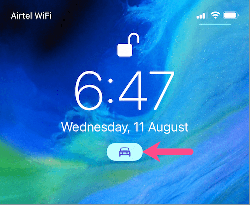 Driving Mode toggle on iphone's Lock Screen